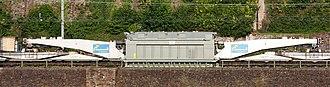 Class U special wagon - ÖBB Schnabel wagon with transformer at Koblenz-Ehrenbreitstein station