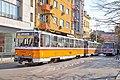 Tram in Sofia near Central mineral bath 2012 PD 033.jpg