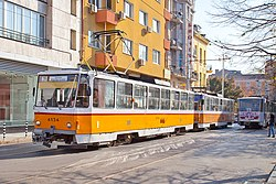 Tram in Sofia near Central mineral bath 2012 PD 033.jpg