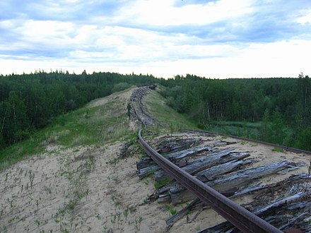 Transpolar Railway was a project of the Gulag system that took place from 1947 to 1953. Transpolar Railway between Salekhard and Nadym.jpg