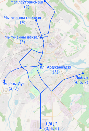 Trolleybus map of Mahilioŭ, Belarus (in Belarusian).png