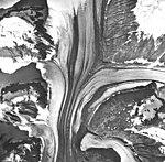 Tsirku Glacier, valley glaciers with large medial moraines, September 17, 1966 (GLACIERS 5263).jpg