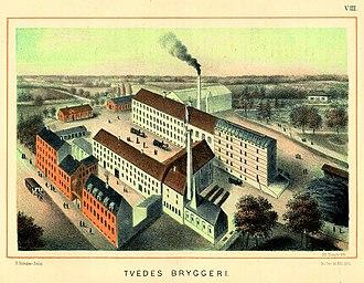 Tvedes Bryggeri - Tvede's Brewery in c. 1888, illustration from Danmarks industrielle Etablissementer