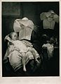 Two nuns in the pharmacy, one holds a sick child on her lap; Wellcome V0017072.jpg