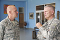 U.S. Air Force Maj. Gen. Eric Vollmecke, left, the deputy director of exercise Western Accord 2013, and Army Maj. Gen. David Sprynczynatyk, the North Dakota adjutant general, talk at the Kofi Annan International 130626-Z-ZZ999-007.jpg