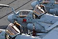U.S. Sailors clean the windshields of EA-6B Prowler aircraft assigned to Electronic Attack Squadron (VAQ) 140 aboard the aircraft carrier USS Dwight D. Eisenhower (CVN 69) in the Arabian Sea April 20, 2013 130420-N-SR846-014.jpg