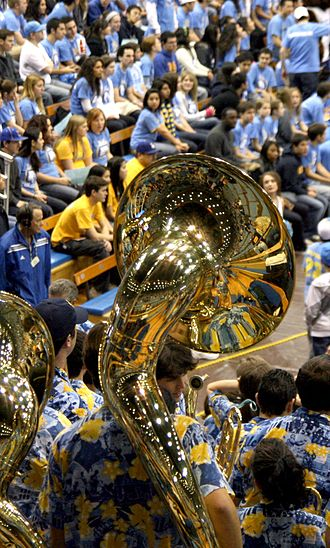 UCLA Bruin Marching Band - UCLA Tuba players in Pauley Pavilion
