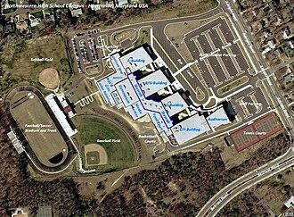 Northwestern High School (Hyattsville, Maryland) - USGS aerial photograph of the present-day Northwestern High School campus