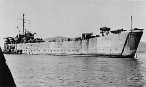 USS LST-484 at anchor, location unknown, circa 1945-46.