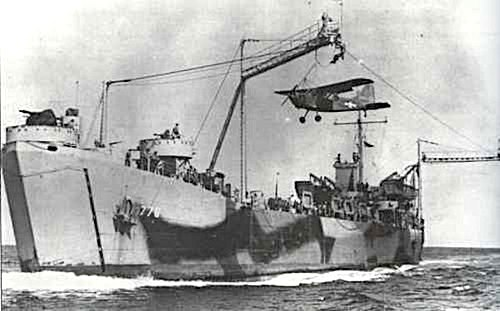 USS LST-776 with Brodie system front view during testing 1943