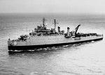 USS Lindenwald (LSD-6) underway in Hampton Roads 1965