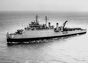 USS Lindenwald (LSD-6) underway in Hampton Roads in 1965