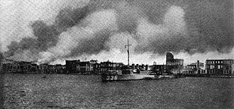 USS Litchfield (DD-336) - Litchfield at the Great Fire of Smyrna.
