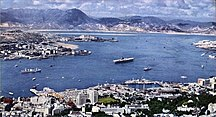 香港-二次大戰後-USS Ticonderoga (CVA-14) at Hong Kong in 1960