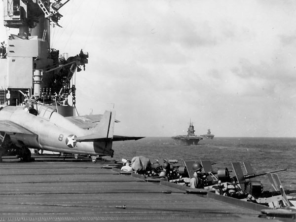 USS Wasp (CV-7), USS Saratoga (CV-3) and USS Enterprise (CV-6) operating in the Pacific south of Guadalcanal on 12 August 1942