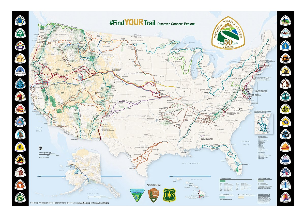 Usa Canada Map Forestry Roads Mountains Long distance trails in the United States   Wikipedia