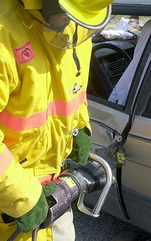 Fluid power - A hydraulic rescue tool is used to extract injured people from wrecked cars
