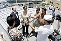 US Navy 030519-N-8157C-056 Hawaii's Governor, Linda Lingle and the Acting Secretary of the Navy (SECNAV) Handsford T. Johnson get interviewed by local media while aboard the guided missile cruiser USS Lake Erie (CG-70).jpg