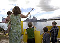 US Navy 040311-N-7833F-009 Family and friends of Sailors aboard the guided missile cruiser USS Port Royal (CG 73), wave as it passes Hospital Point, Pearl Harbor, Hawaii.jpg