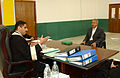 US Navy 041218-F-8946M-010 Ali Hassan al-Majid, otherwise known as Chemical Ali speaks with Chief Investigative Judge Ra'id Juhi of the Iraqi Special Tribunal during an investigative hearing in Baghdad, Iraq.jpg