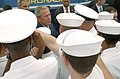 US Navy 050830-N-0967W-293 President George W. Bush pauses to greet and shake hands with San Diego-area Sailors after delivering a speech commemorating the 60th anniversary of the allied victory over Japan (VJ Day) during World.jpg