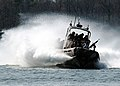 US Navy 060406-N-5694H-002 A small unit riverine craft assigned to U.S. Marine Training Detachment, Camp Lejeune, N.C., demonstrates a J turn for U.S. Naval Academy midshipmen in the Severn River.jpg