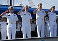 US Navy 070817-N-9486C-316 Capt. Douglas Wied, commander of Task Group 40.9, and Cmdr. Charles Rock, commanding officer of High Speed Vessel (HSV) 2 Swift, along with the leadership of Naval Base Del Caribe, render honors durin.jpg
