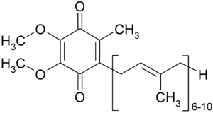 chemical structure of Ubiquinone (Coenzyme Q)
