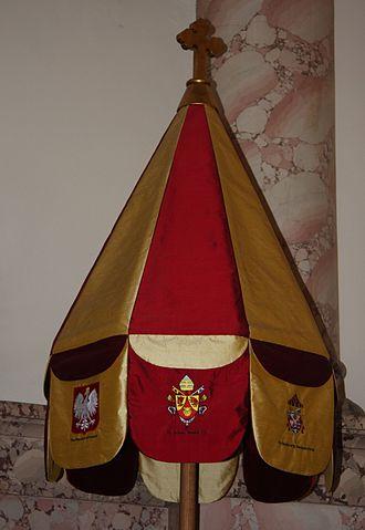 Basilica of Saint Stanislaus Kostka - Umbrella indicating status as a basilica