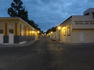 Segundo (Ponce) - A street in Barrio Segundo at dusk, in the Ponce Historic Zone