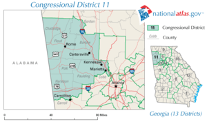 United States House of Representatives, Georgia District 11, 110th Congress.png