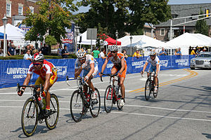 Souderton, Pennsylvania - Some international and domestic professional cyclists coming through the Start/Finish for another lap of the finishing circuit in the Univest Grand Prix