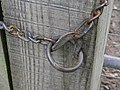 Unusual shackle on gate post - geograph.org.uk - 251382.jpg