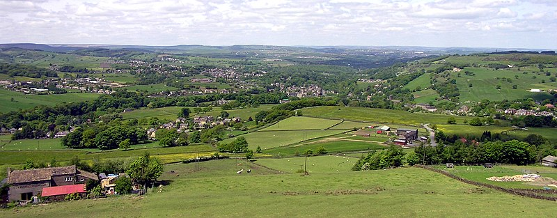 Upper Holme Valley, looking north and westerly, from Mount at Jackson Bridge over Totties & New Mill to Honley & Crosland Moor Upper Holme Valley.JPG