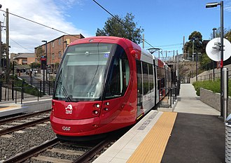 Light rail in Sydney - A 2014 view of an Urbos 3 arriving at Arlington on the Inner West Light Rail extension to Dulwich Hill. The vehicle and the extension had both entered service during that year.