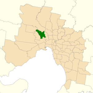 Electoral district of Niddrie - Location of Niddrie (dark green) in Greater Melbourne