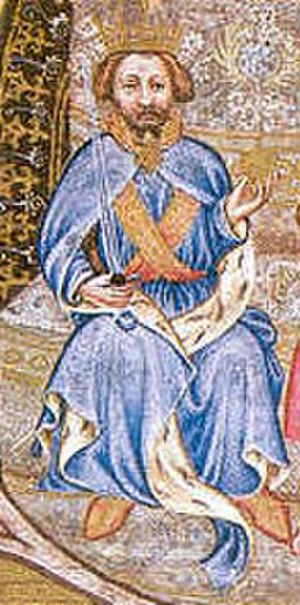 Wenceslaus IV of Bohemia - King Wenceslaus sitting on the throne, detail from the Wenceslas Bible, 1390s