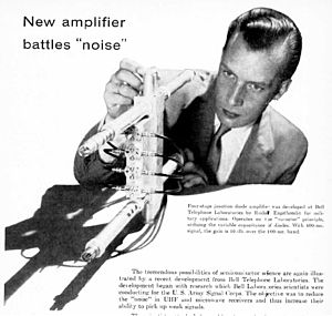 Parametric oscillator - One of the first varactor parametric amplifiers, invented at Bell Labs around 1958.  This 4 stage amplifier achieved 10 dB gain at 400 MHz. Parametric amplifiers are used in applications requiring extremely low noise.