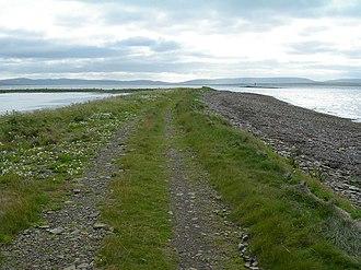 Vasa Loch - Raised beach separating Vasa Loch (left) from the sea.