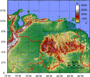 Topographic map of Venezuela Venezuela Topography.png