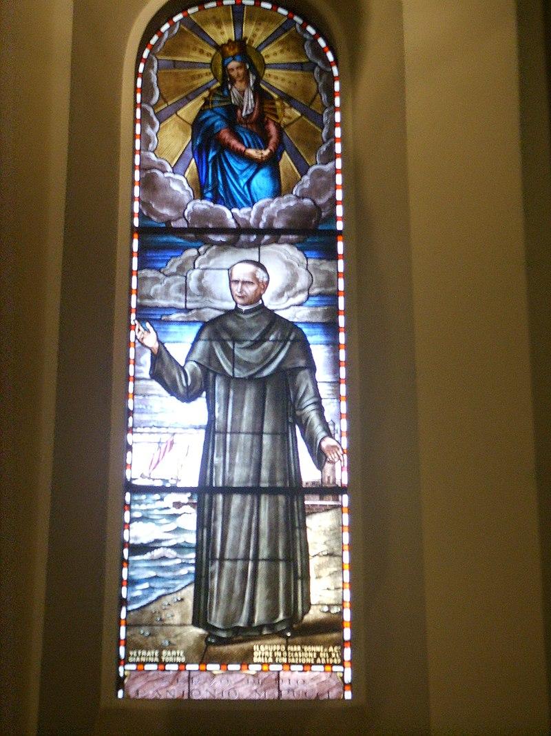 Viareggio, chiesa di sant'andrea, vetrata di sant'antonio maria pucci.JPG