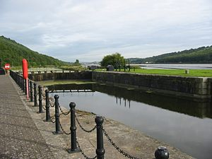 Newry Canal - Victoria Lock at the entrance to Newry ship canal in Carlingford Lough