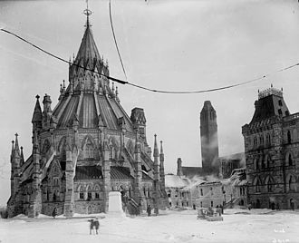 Library of Parliament - The Library of Parliament standing unharmed the day following the fire of 1916
