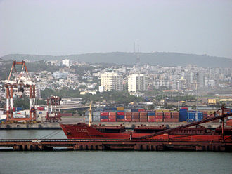 Visakhapatnam skyline, overlooking seaport Visakhapatnam view from Vizag seaport.JPG
