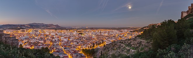 View of the former roman city of Sagunto after sunset at the moon light. The picture was taken from the hill where the castle is located. This picture is the result of 9 frames (3 different frames with 3 differnt exposures).