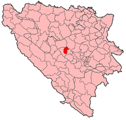 Location of Vitez within Bosnia and Herzegovina.