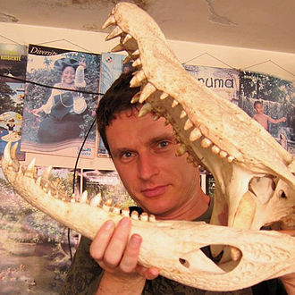 Vladimir Dinets - Vladimir Dinets with a skull of a black caiman, Puerto Francisco de Orellana, Ecuador.