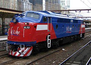 V/Line A class - V/Line liveried A70 at Flinders Street in August 2006
