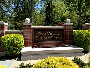 West Virginia Wesleyan College - West Virginia Wesleyan College welcome sign on the corner of College Avenue and Meade Street