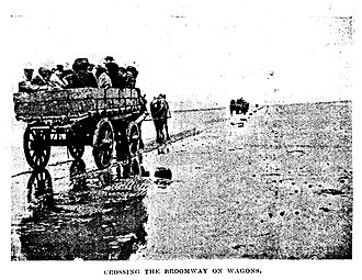 The Broomway - A pre 1922 trip by the Essex Field Club across the Broomway by farm wagon